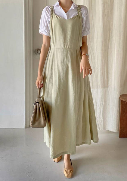 Belted Strap Linen Dress