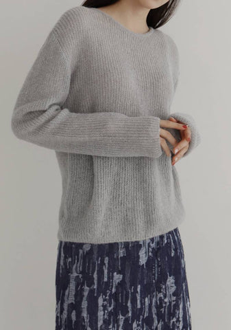 Cherish Alpaca Knit Top [Grey]