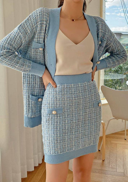 Life Is Better In Tweed Top & Skirt Set