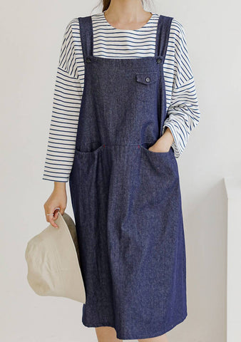 Tell Your Story Denim Overall Dress
