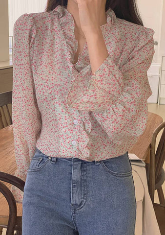 Winter Into Spring Transition Flower Blouse