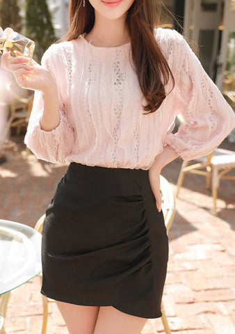 I Will Make You Stay Lace Puff Blouse