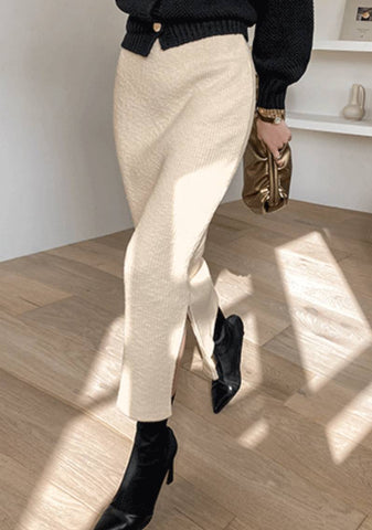 See The Good Slit Ribbed Long Skirt