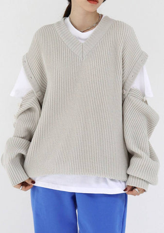 Way Button Knit Top [Light Grey]