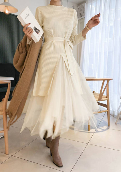 Not Fragile Layered Skirt Knit Dress Set