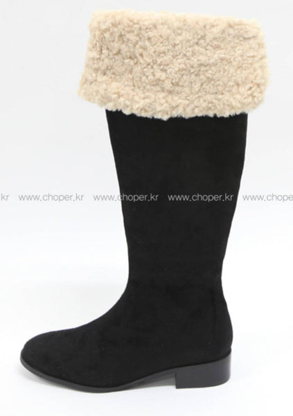 Tangled Faux-Fur Knee-High Boots
