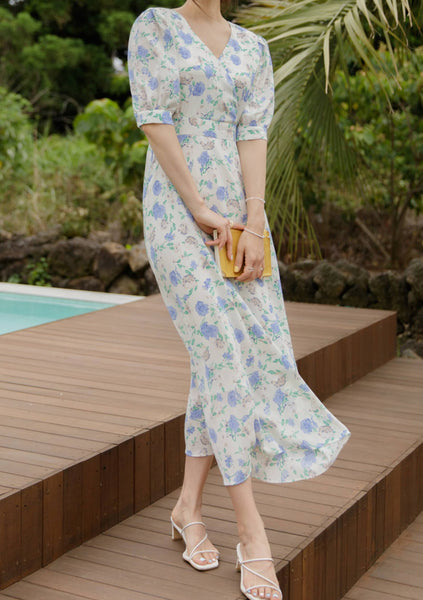 Summer Flower Breeze Puff Dress