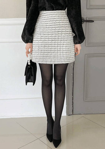 Winter Paradise Check Mini Skirt