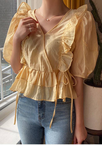 Walking On Sunshine Frill Ruffle Blouse
