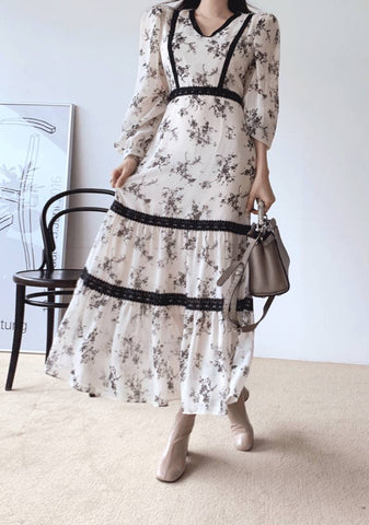 Time For Fall Flowers Long Dress