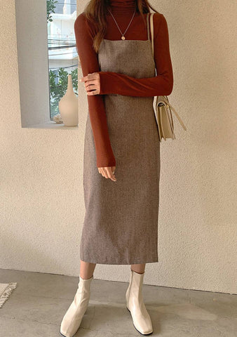 Get Enough Time Sleeveless Wool Dress