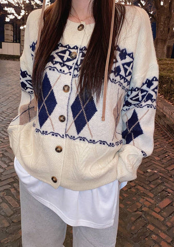 Only Love Nordic Pattern Knit Cardigan