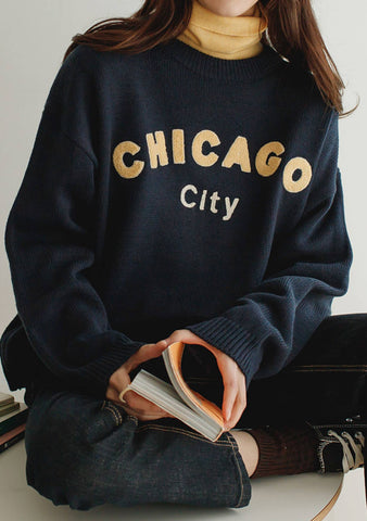 Chicago City Embroidered Knit Top