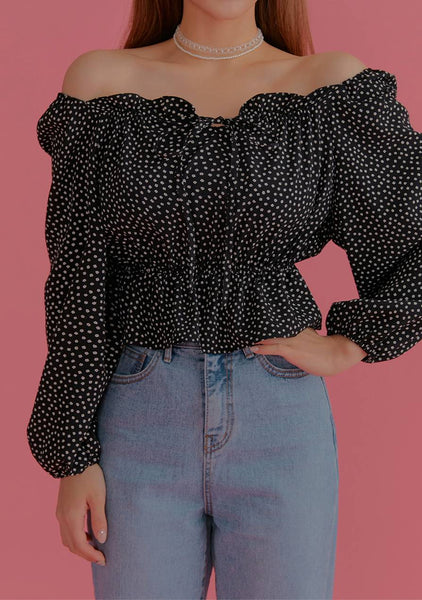 Lost In Words Ruffle Dots Blouse