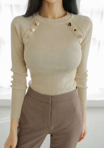 So Familiar To Me Button Ribbed Top