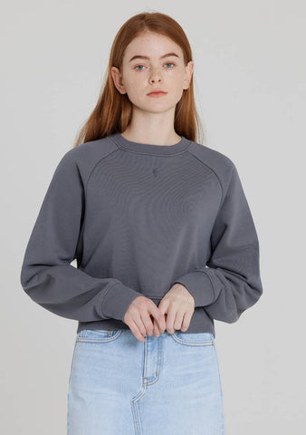 Crop Laglan Sweatshirt (Dark Grey)