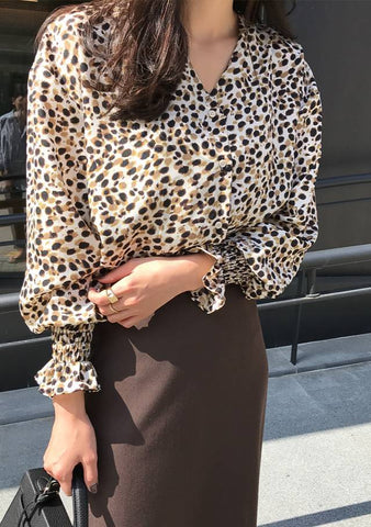 Keep In Contact Leo Print Blouse