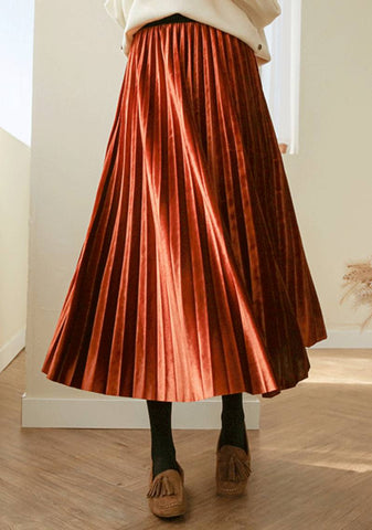 Highway Blues Velvet Pleated Skirt