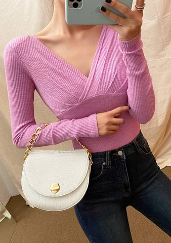 Shirring V-Neck Shoulder Pad Knit Top