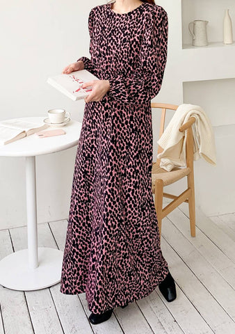 All Of Her Strength Leo Print Long Dress