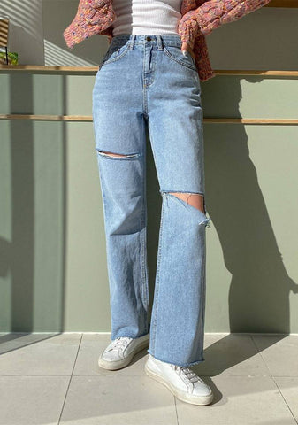 What I Want To Do Ribbed Denim Jeans