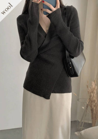 Actually Wool Draped Wrap Knit Top
