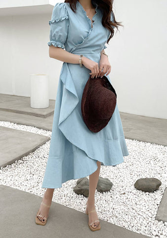 To Fly Away Frill Hem Denim Dress