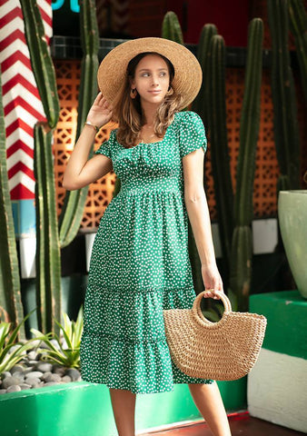 Dot Puffed Midi Dress