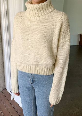 Fall Poem Turtleneck Knit Sweater