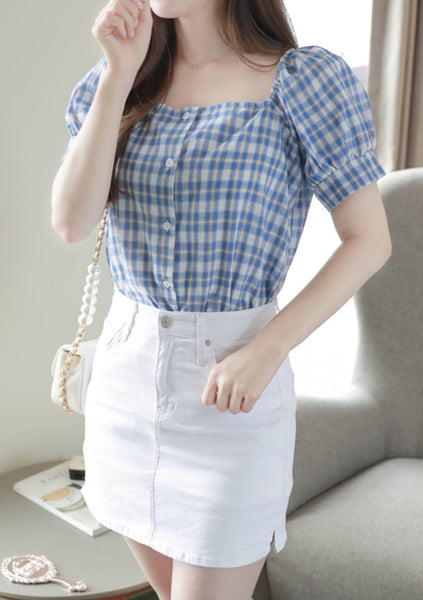 Innovation Check Puff Blouse