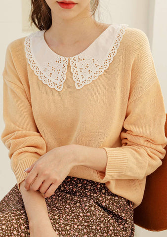 Kinda Funny Lace Collar Knit Top