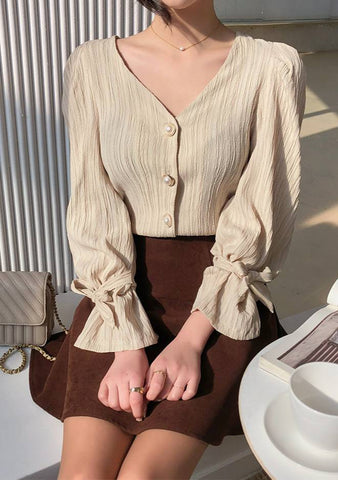 Berlin Pleated Pearl Ribbon Blouse
