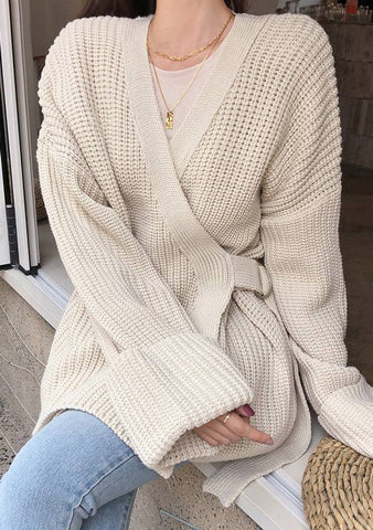 Wrap Belted Knit Cardigan