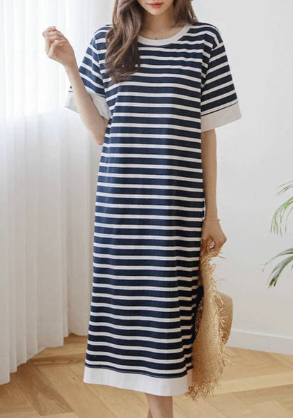 A Woman With Class Stripes Long Dress