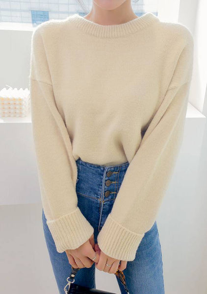 Sweet Fall Round Neck Knit Top