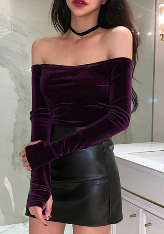 No Cure For My Love Off-Shoulder Velvet Top