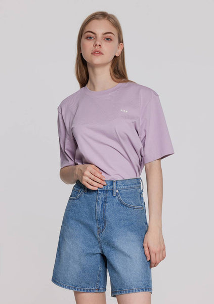 Loose Fit Half Crop T-Shirt (Violet)