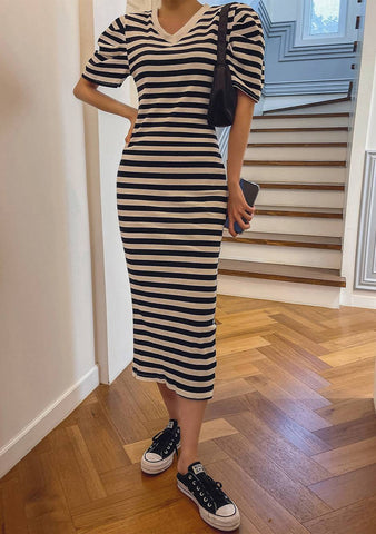 From Time To Time Stripes Long Dress