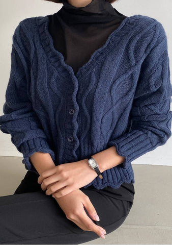 Someone To Stay Frill Hem Knit Cardigan