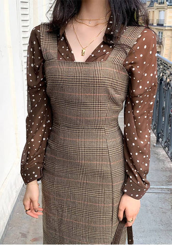 See Through Dotted Shirt Blouse