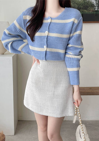 Perfect For Each Other Stripes Knit Cardigan
