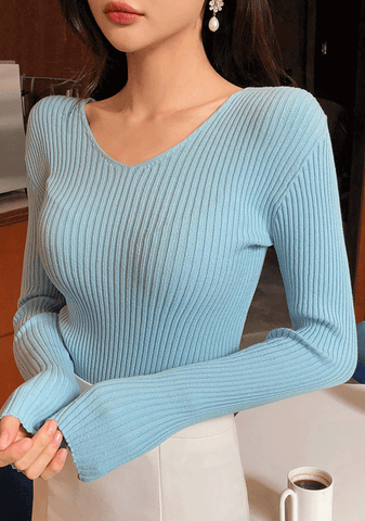 Soft Corduroy V-neck Knit Top