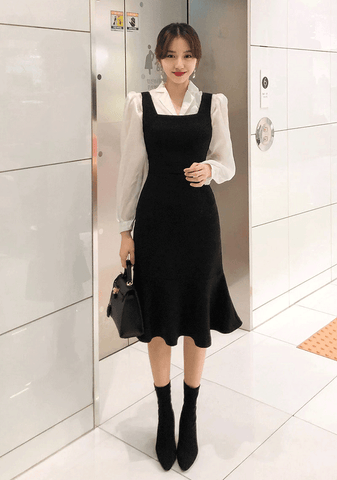 Square Neck Pinafore Dress
