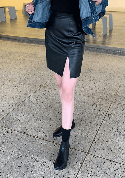Sexy Faux Leather Skirt