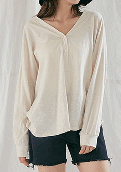 Loose Fit Basic Slub Cardigan