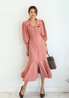 Sarubia Puff Shoulder Dress