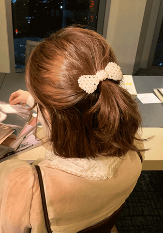 Lovely Pearl Ribbon Hairpin