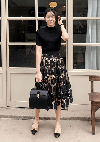 Black Flower Top + Skirt Set