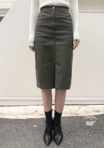 Calix Leather Long Skirt