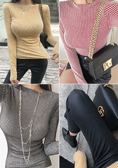 Melange Gold Ribbed Knit Top